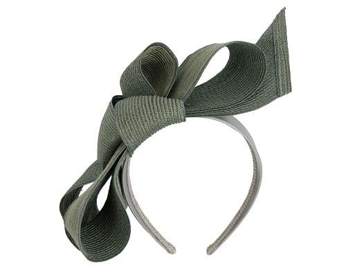 Fascinators Online - Large olive bow fascinator by Max Alexander 2