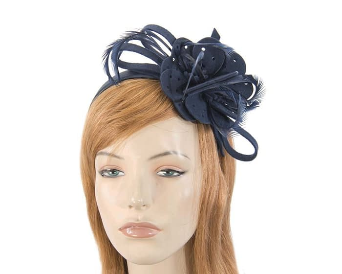 Fascinators Online - Navy felt flower and feathers winter fascinator 1