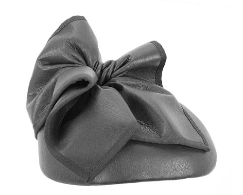 Fascinators Online - Black leather pillbox fascinator by Max Alexander 2