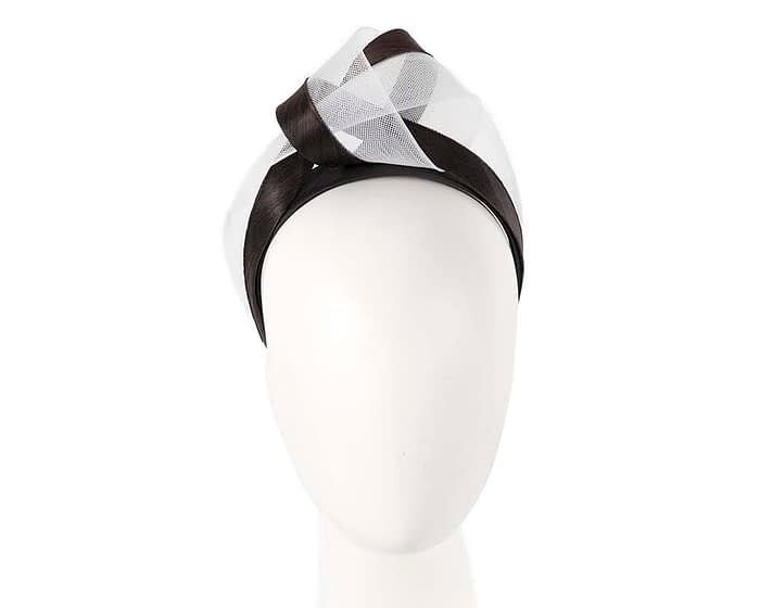 Fascinators Online - Black & white turban headband by Fillies Collection 1