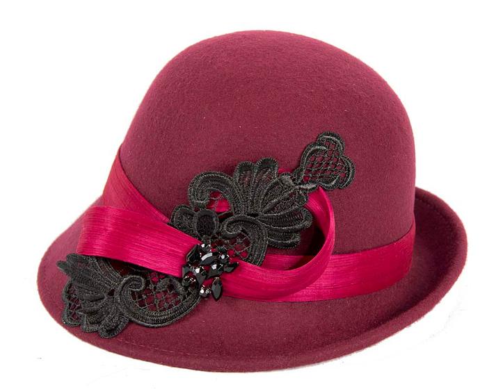 Fascinators Online - Burgundy autumn & winter fashion felt cloche hat by Fillies Collection 2