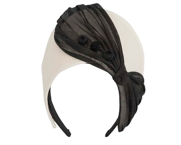 Fascinators Online - Cream & black felt crown fascinator by Fillies Collection 2