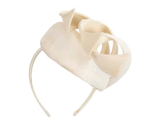 Fascinators Online - Cream pillbox racing fascinator with jinsin trim by Fillies Collection 6