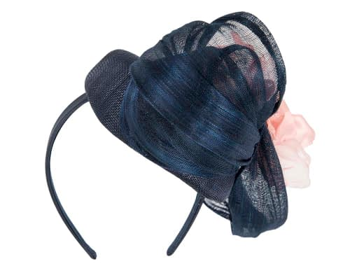 Fascinators Online - Navy pink pillbox fascinator with large flower by Fillies Collection 6