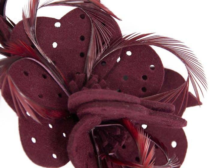 Fascinators Online - Wine felt flower and feathers winter fascinator 3