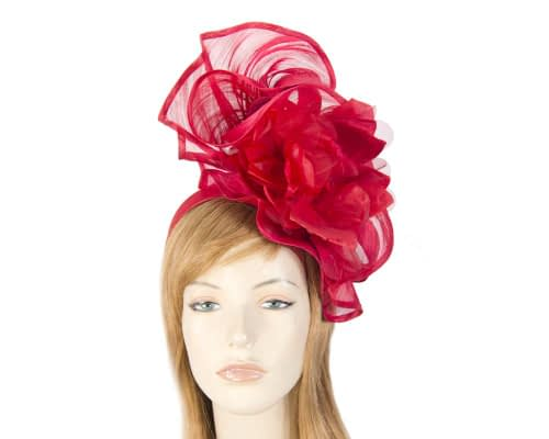 Fascinators Online - Tall red silk abaca racing fascinator 1