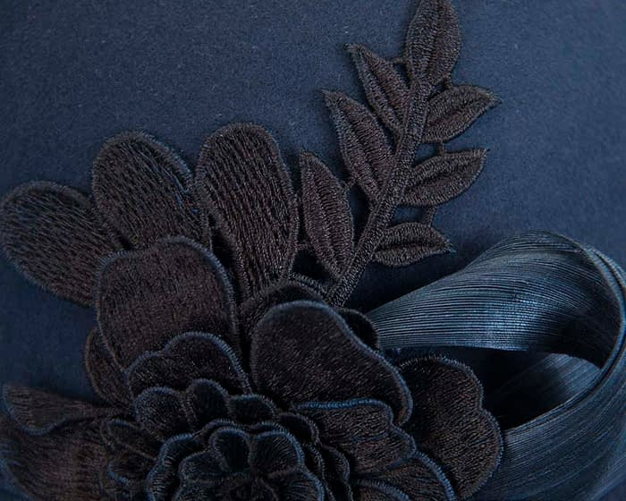 Fascinators Online - Exclusive navy felt cloche hat with lace by Fillies Collection 5