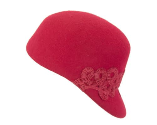 Fascinators Online - Red felt ladies cap with lace 2