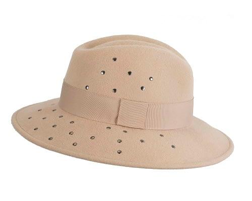 Fascinators Online - Wide brim beige felt fedora hat by Max Alexander 4