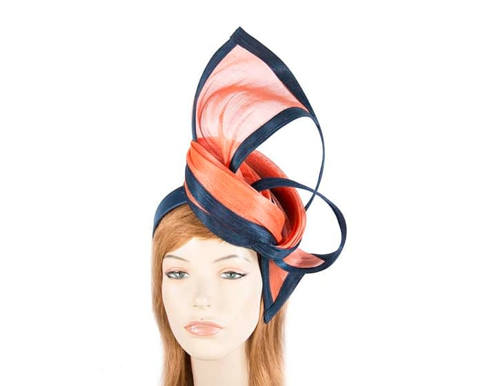 Fascinators Online - Tall navy & orange designers fascinator by Fillies Collection 1