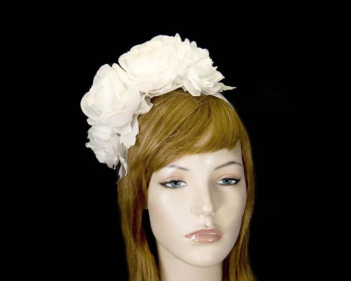 Fascinators Online - Cream flower headband fascinator by Max Alexander 1