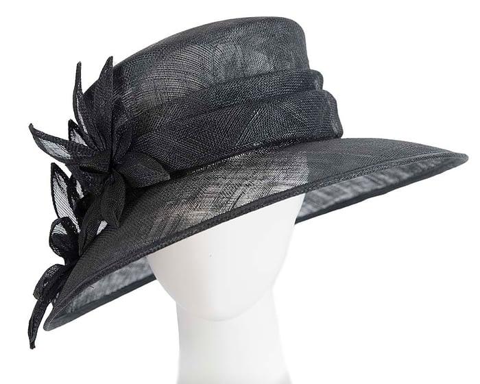 Fascinators Online - Large traditional black racing hat by Max Alexander 1