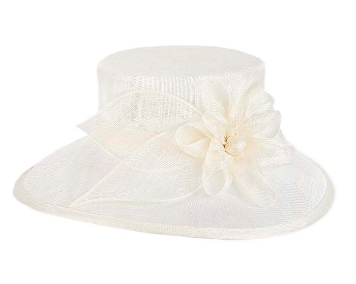 Fascinators Online - Wide brim cream sinamay fashion hat by Max Alexander 3