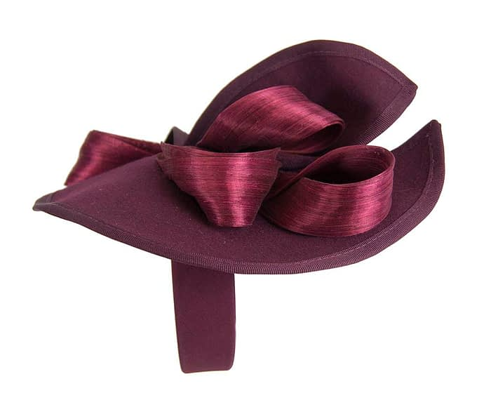 Fascinators Online - Burgundy felt twist with bow by Fillies Collection 4