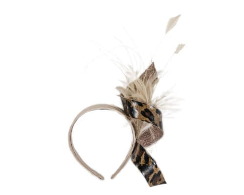 Fascinators Online - Nude & leopard twisted fascinator 2