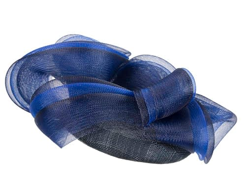 Fascinators Online - Navy & royal blue pillbox racing fascinator with wave by Fillies Collection 6