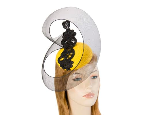 Fascinators Online - Yellow & Black designers fascinator 19