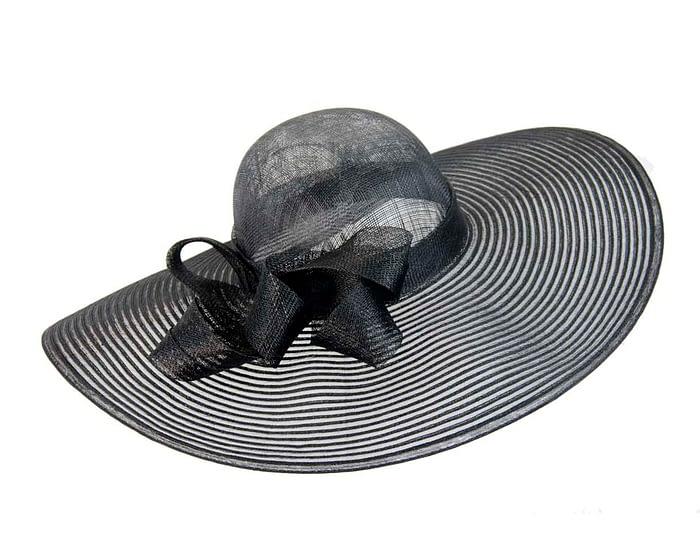 Fascinators Online - Wide brim black fashion hat by Max Alexander 3