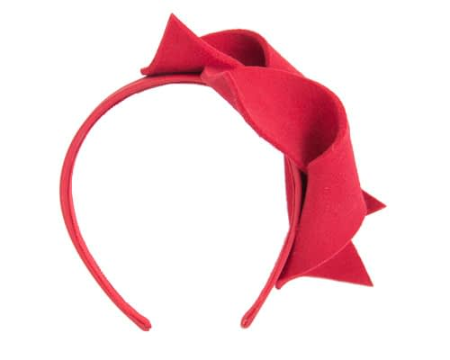 Fascinators Online - Red felt twisted fascinator by Max Alexander 4
