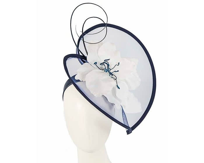 Fascinators Online - Bespoke navy & white heart fascinator by Fillies Collection 1