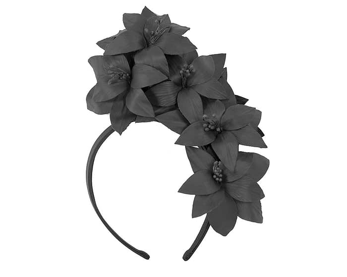 Fascinators Online - Black leather flower headband by Fillies Collection 2