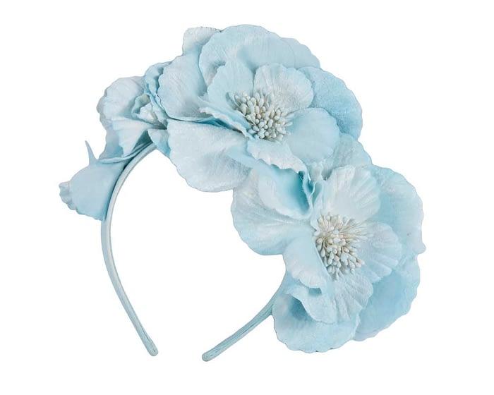 Fascinators Online - Ice blue flowers on the headband 2
