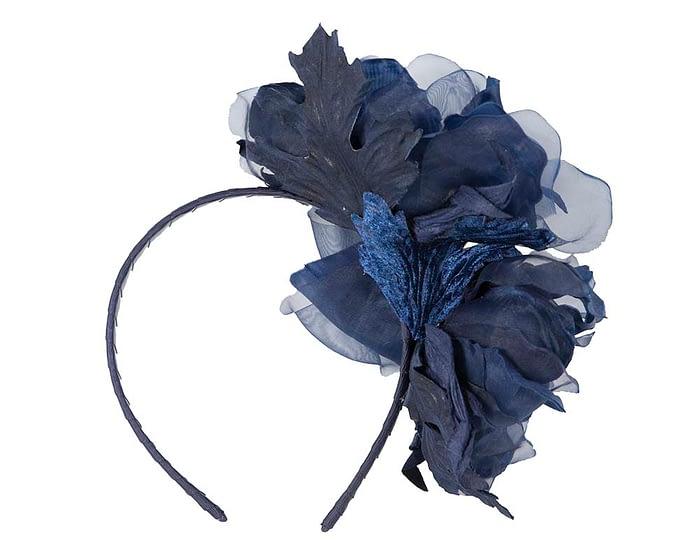 Fascinators Online - Navy Silk Flower Fascinator by Fillies Collection 4