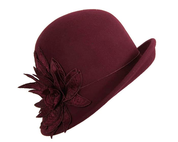 Fascinators Online - Burgundy felt cloche hat with lace by Max Alexander 2