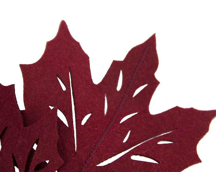 Fascinators Online - Burgundy Laser Cut felt Maple Leaves on a Headband 3