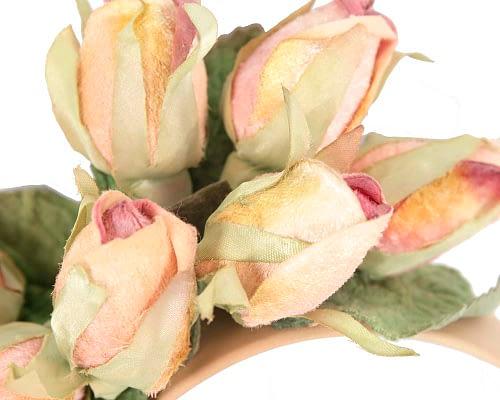 Fascinators Online - Multi-color peach roses flower headband by Max Alexander 3