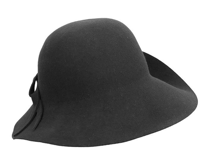 Fascinators Online - Unusual black felt wide brim hat by Max Alexander 6