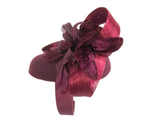 Fascinators Online - Tall burgundy felt pillbox with flower by Fillies Collection 3
