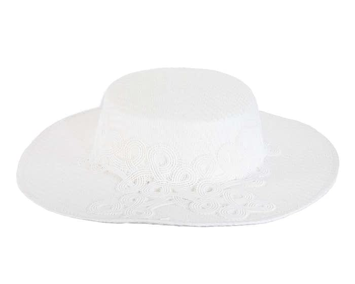 Fascinators Online - White fashionable boater hat with lace 5