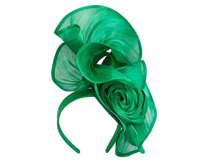 Fascinators Online - Green sculptured silk abaca fascinator by Fillies Collection 2