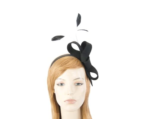 Fascinators Online - Black felt bow winter fascinator 1