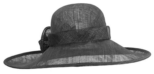 Fascinators Online - Wide brim black sinamay racing hat by Max Alexander 6