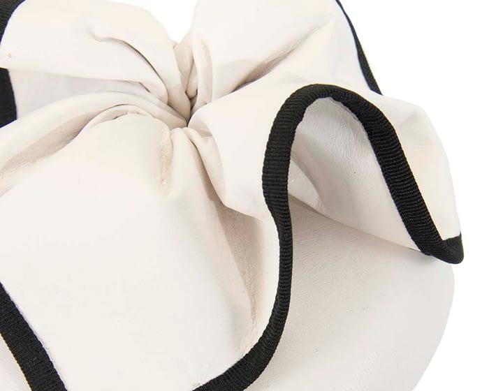 Fascinators Online - White & black leather pillbox fascinator by Max Alexander 4