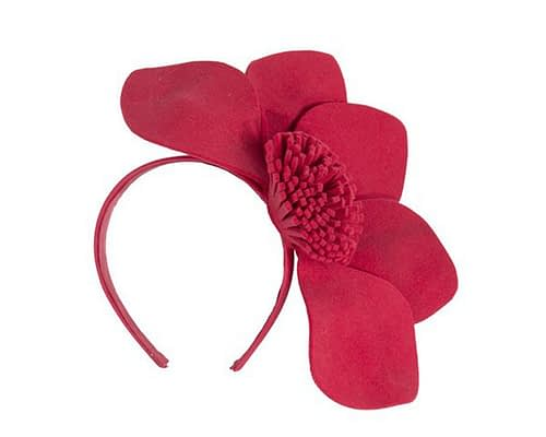 Red felt flower fascinator J338R