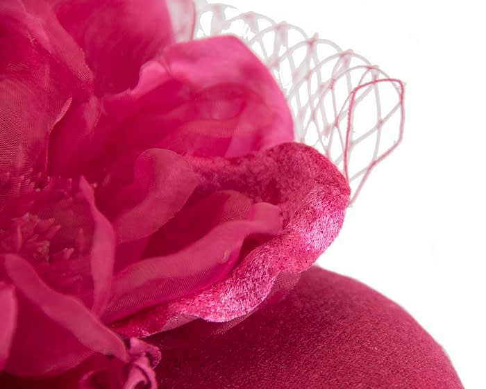 Fascinators Online - Fuchsia pillbox fascinator with flower by Fillies Collection 5