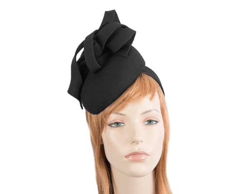 Fascinators Online - Unusual black felt pillbox fascinator by Fillies Collection 98