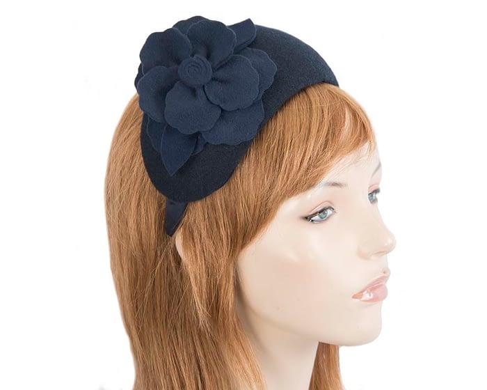 Fascinators Online - Wide headband navy winter fascinator with flower by Max Alexander 2