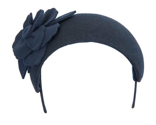 Fascinators Online - Wide headband navy winter fascinator with flower by Max Alexander 3
