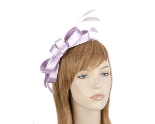 Fascinators Online - Lilac satin bow racing fascinator with feathers by Max Alexander 5