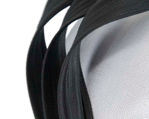 Fascinators Online - White & black pillbox racing fascinator with jinsin trim by Fillies Collection 5