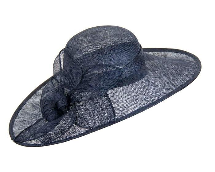 Fascinators Online - Large navy fashion hat by Max Alexander 2
