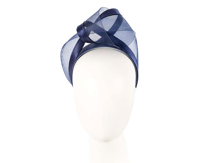 Fascinators Online - Navy turban headband by Fillies Collection 1