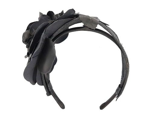 Fascinators Online - Black leather flower headband fascinator by Max Alexander 5