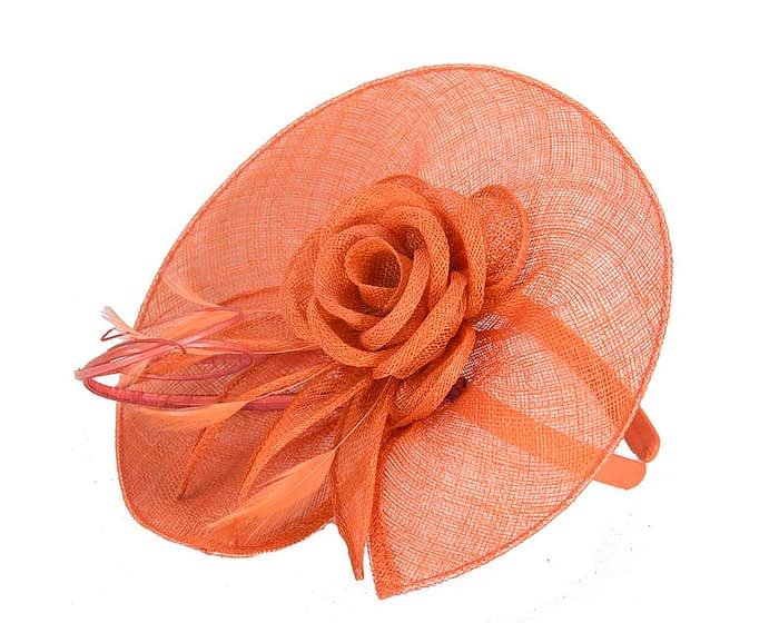 Fascinators Online - Large orange sinamay racing fascinator with feathers by Max Alexander 3