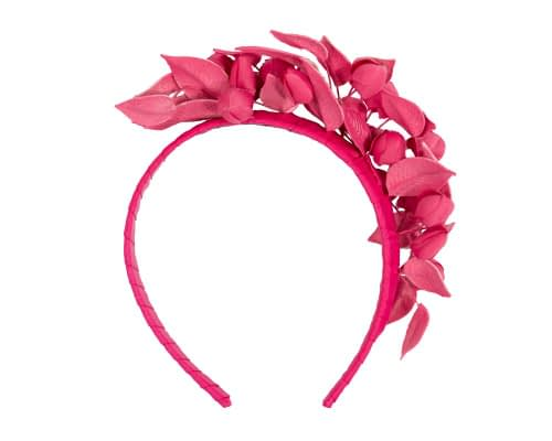 Fascinators Online - Fuchsia leather hand-made racing fascinator by Max Alexander 4