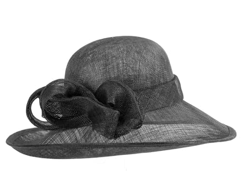 Fascinators Online - Wide brim black sinamay racing hat by Max Alexander 3